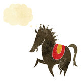 Cartoon prancing horse with thought bubble Stock Image