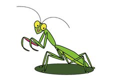 Cartoon praying mantis Royalty Free Stock Photo