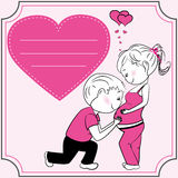 Cartoon pregnant woman, man and heart. A pregnant woman and her husband, greeting card or banner, vector illustration Royalty Free Stock Image