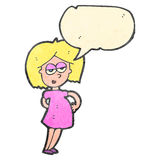 Cartoon pregnant woman with speech bubble Royalty Free Stock Images
