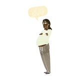 Cartoon pregnant woman with speech bubble Royalty Free Stock Image