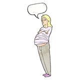 Cartoon pregnant woman with speech bubble Stock Images