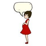 Cartoon pregnant woman with speech bubble Stock Photos
