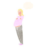 Cartoon pregnant woman with thought bubble Royalty Free Stock Photography