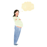 Cartoon pregnant woman with thought bubble Royalty Free Stock Image