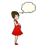 Cartoon pregnant woman with thought bubble Stock Images