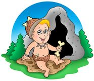 Cartoon prehistoric baby before cave Royalty Free Stock Photos