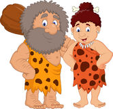 Cartoon prehistoric caveman couple. Illustration of Cartoon prehistoric caveman couple Stock Image