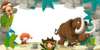 Cartoon prehistoric frame Stock Photography