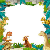 Cartoon prehistoric nature frame with dinosaurs. Beautiful and colorful illustration for the children - for different usage - for fairy tales Stock Photos