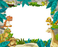 Cartoon prehistoric nature frame with dinosaurs Royalty Free Stock Image