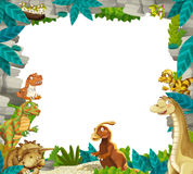 Cartoon prehistoric nature frame with dinosaurs Stock Images