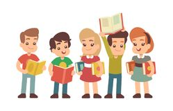 Cartoon preschool children with books. Learning and stadying vector concept stock illustration