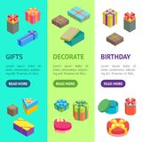Cartoon Present Boxes Banner Vecrtical Set. Vector. Cartoon Present Boxes Banner Vecrtical Set Packaging Holiday Gift Concept Flat Design Style. Vector Royalty Free Stock Image