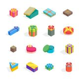 Cartoon Present Boxes Color Icon Set. Vector. Cartoon Present Boxes Color Icon Set Isolated on White Background Packaging Holiday Gift Concept Flat Design Style Stock Photos