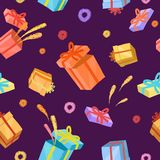 Cartoon present boxes seamless pattern Royalty Free Stock Photography
