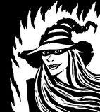 Cartoon pretty black witch. Vector illustration. Stock Image