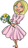 Cartoon pretty blond girl with flowers Royalty Free Stock Photos