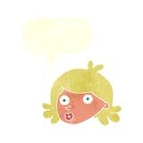 Cartoon pretty face with speech bubble Stock Photography