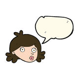 Cartoon pretty face with speech bubble Stock Photo