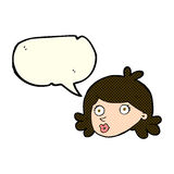 Cartoon pretty face with speech bubble Royalty Free Stock Photo