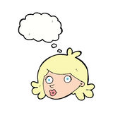 Cartoon pretty face with thought bubble Royalty Free Stock Photo