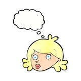 Cartoon pretty face with thought bubble Stock Photos