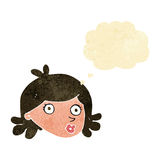 Cartoon pretty face with thought bubble Royalty Free Stock Image