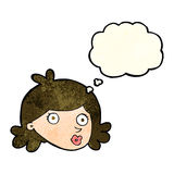 Cartoon pretty face with thought bubble Royalty Free Stock Photography