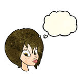 Cartoon pretty female face pouting with thought bubble Stock Images