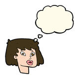 Cartoon pretty female face with thought bubble Royalty Free Stock Photo