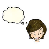 Cartoon pretty female face with thought bubble Royalty Free Stock Images