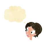 Cartoon pretty female face with thought bubble Royalty Free Stock Image