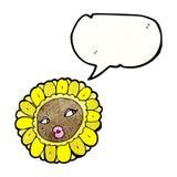 Cartoon pretty female sunflower face Stock Photos