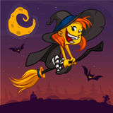 Cartoon pretty funny witch flying on her broom. Halloween vector illustration isolated. On night background with cemetery and full moon. Children book Stock Photo