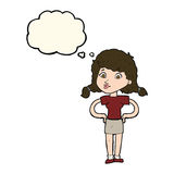 Cartoon pretty girl with hands on hips with thought bubble Royalty Free Stock Image