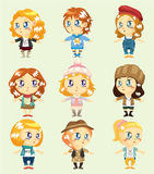 Cartoon pretty girl icon Royalty Free Stock Photos