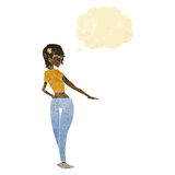 Cartoon pretty girl in jeans and tee with thought bubble Stock Photo