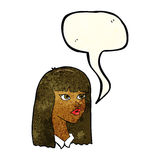 Cartoon pretty girl with long hair with speech bubble Stock Images
