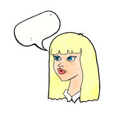 Cartoon pretty girl with long hair with speech bubble Royalty Free Stock Images