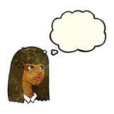 Cartoon pretty girl with long hair with thought bubble Stock Photography