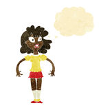 cartoon pretty girl with shocked expression with thought bubble Stock Images