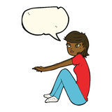 Cartoon pretty girl sitting with speech bubble Royalty Free Stock Images
