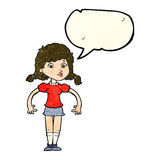 cartoon pretty girl with speech bubble Royalty Free Stock Image