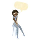 Cartoon pretty girl on stool with speech bubble Stock Photography