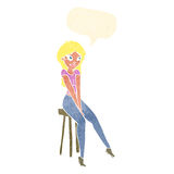 Cartoon pretty girl on stool with speech bubble Royalty Free Stock Images