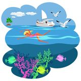 Cartoon pretty girl swimming in blue ocean. Beautiful underwater world vector illustration. Summer holiday and fun concept. Luxury white yacht on background stock illustration