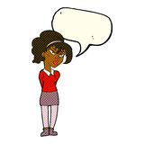 Cartoon pretty girl tilting head with speech bubble Royalty Free Stock Image