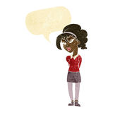 Cartoon pretty girl tilting head with speech bubble Stock Photography
