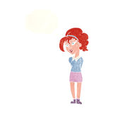 cartoon pretty girl tilting head with thought bubble Royalty Free Stock Photos